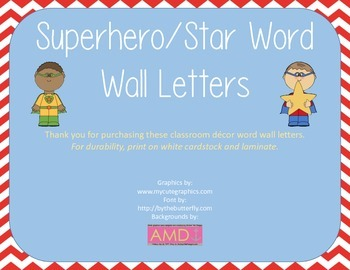 Superhero / Stars Word Wall Letters