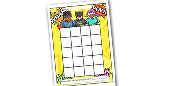 image relating to Sticker Reward Chart Printable titled Superhero Sticker/Stamp Profit Chart