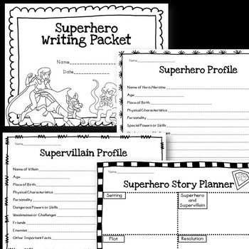 superhero writing story packet character cards comics by the
