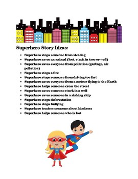 Superhero Story: Creative Writing Activities Grades 1-2