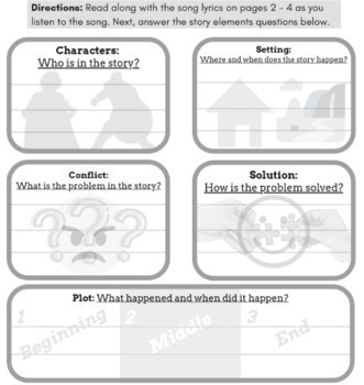 Superhero Story Elements Reading Passage, Worksheets, & Questions w/ Parody Song