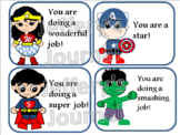 Superhero Clip Art Student Certificates with Affirmations