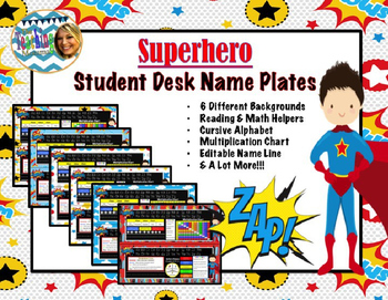 (Updated) Superhero Student Desk Name Plates
