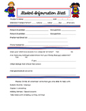 Superhero Student Info Sheet // Back to School Student Information Sheet