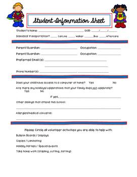 Superhero Student Info Sheet // Back to School Student Information Sheet
