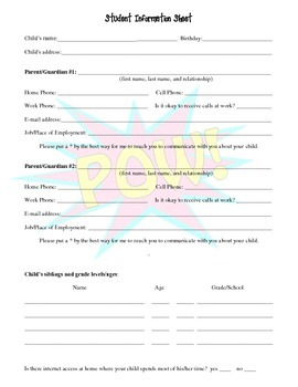 Superhero Student Information Sheet