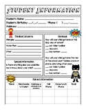 Student Information Sheet - Superhero Theme