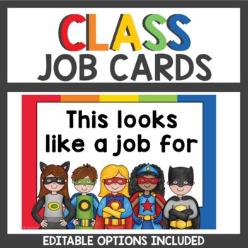 Superhero Student Job Cards