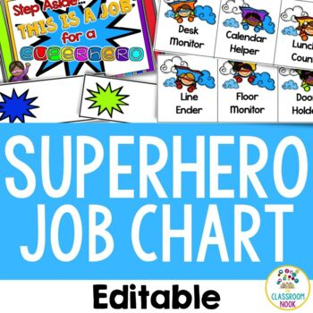 Superhero Theme: Student Job Chart (Editable)