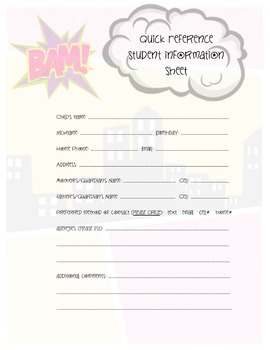 Superhero Student Quick Ref. Form - Method of contact version, full page