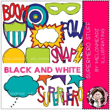 Superhero Stuff clip art - BLACK AND WHITE - Melonheadz Clipart