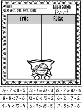 Subtraction Facts: Cut and Paste Printables