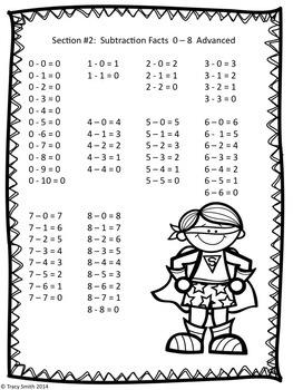 Superhero Subtraction - Facts to 10 - No Prep - Grades K-3