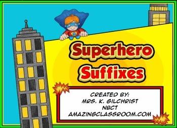 Superhero Suffixes Smartboard Notebook Lesson