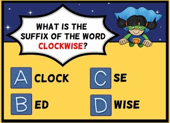Superhero Suffixes Smartboard Notebook Lesson