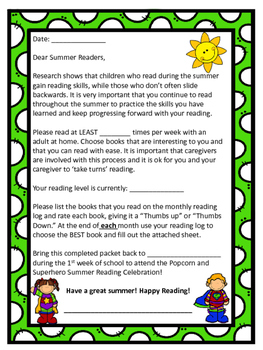 Summer Reading Packet- Superhero Themed