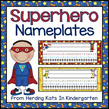 Superhero Super Hero Themed Nameplates