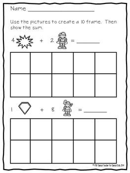 Superhero, Super POWER Ten Frame Activities & Printables