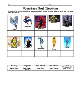 Superhero Super Powers Abilities Worksheet