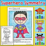 Superhero Theme Lines of Symmetry Activity - Fun Math Art Worksheets