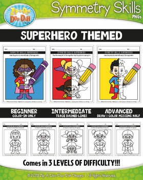 Superhero Symmetry Skill Activity Pack — Includes 15 Sheets!
