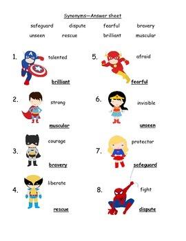 Superhero Synonyms and Antonyms