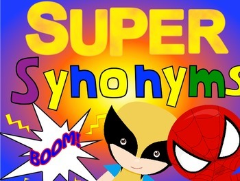 Superhero Synonyms - printables and Scoot