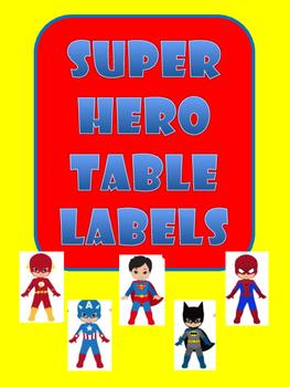 Superhero Table Labels