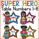 Superhero Table Number Signs 1-8
