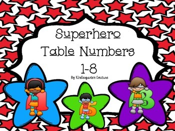 Superhero Table Numbers 1-8 Multicolored Star Background