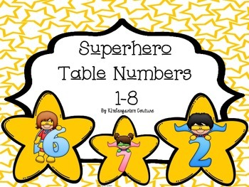 Superhero Table Numbers 1-8 Star Background