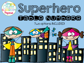 Superhero Table Numbers