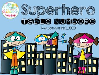 Superhero Table Numbers