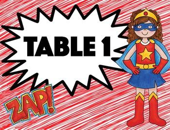Superhero Table Numbers/Colors