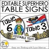 Superhero Theme Table Signs - Superhero Theme Decor