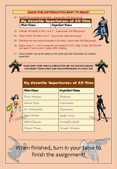 Superhero Tables Activity