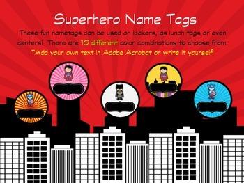 Superhero Tags-Editable