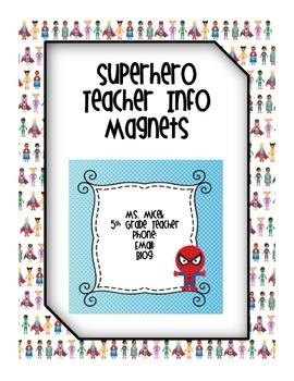 Superhero Teacher Info Magnets