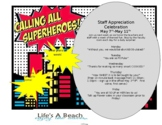 Superhero Teacher/Staff Appreciation Flyer and Snack Ideas