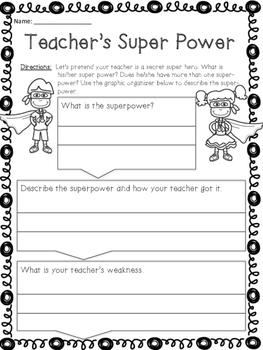 Superhero Teacher Writing - For Substitutes
