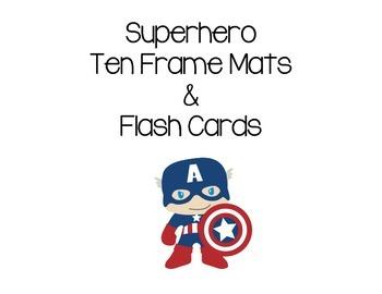 Superhero Ten 10 Frame Mats and Flashcards 0 - 10