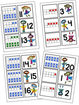 Superhero Ten Frame Match Up Center with Practice Worksheets