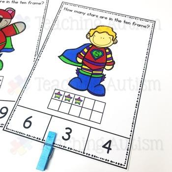 Superhero Ten Frame Task Cards