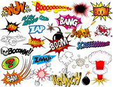 Superhero Text Bubbles Clip Art Digital Comic Book - Bang Boom Zap Sound Sayings
