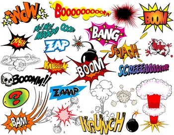 Superhero Text Bubbles Clip Art Digital Comic Book - Bang Boom Zap Sound Sayings