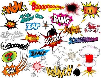 Superhero Text Bubbles Clip Art Digital Comic Book - Bang