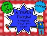 Superhero Thank You Notes/Cards {FREEBIE}