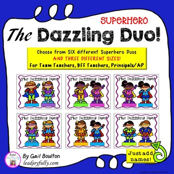"""Superhero """"The Dazzling Duos!"""" EDITABLE Folded Cards or Mini-Poster Gifts"""