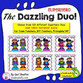 "Superhero ""The Dazzling Duos!"" EDITABLE Folded Cards or Mi"