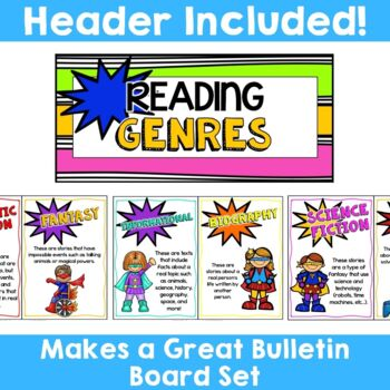 Superhero Theme:  10 Reading Genre Posters